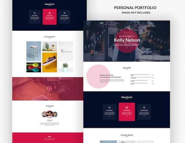 Modello di progettazione della pagina di destinazione del portfolio personale