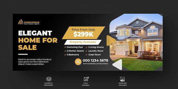 Modello di progettazione di banner e banner facebook elegante casa moderna immobiliare