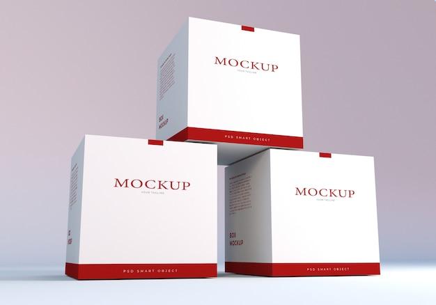 Modello di progettazione di mockup di scatole di imballaggio bianco