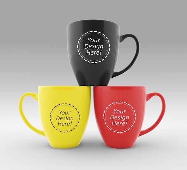 Modello di progettazione di mockup facile da modificare di tre tazze da caffè