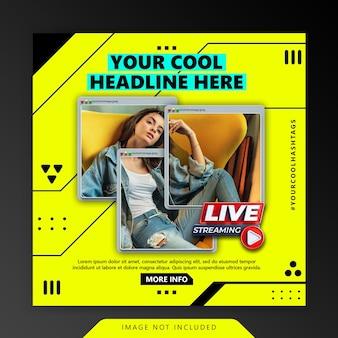 Modello di promozione post instagram scheda minimalista di concetto creativo cyber retro computer