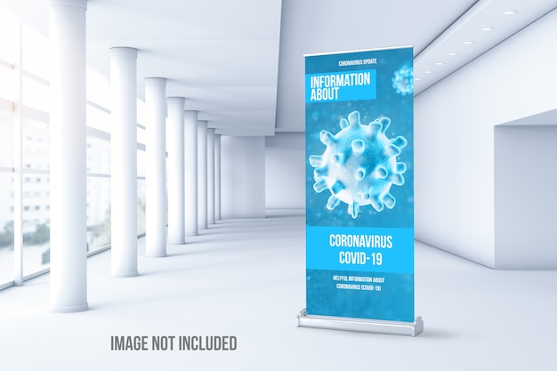 Modello di rollup del coronavirus all'interno di un edificio