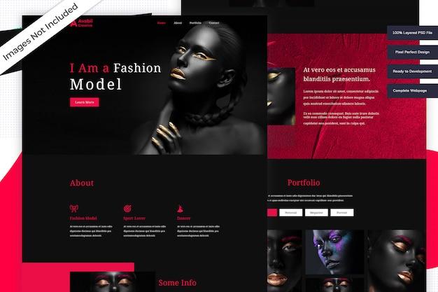 Modello di sito web del modello di moda