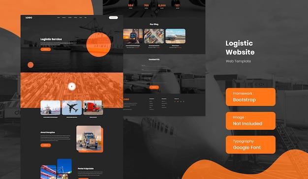 Modello di sito web del servizio di consegna logistica e trasporto