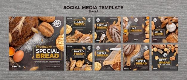 Modello di social media di pane