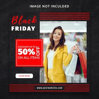 Modello di social media di vendita di moda venerdì nero