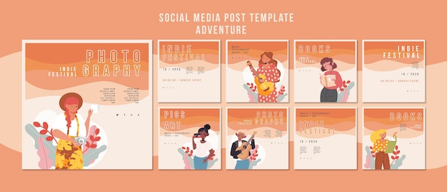 Modello di social media post festival