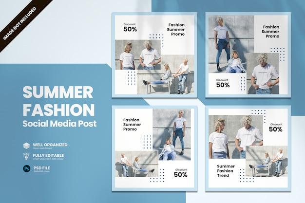 Modello di social media promozionale di moda estate