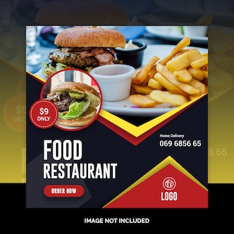 Modello di social post ristorante instagram cibo sociale