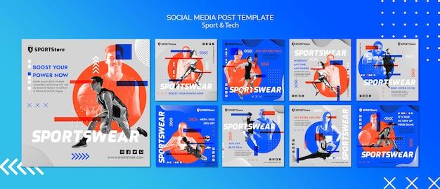 Modello di sport e tecnologia per post sui social media