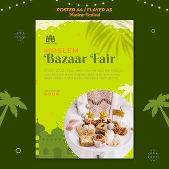 Modello di stampa del manifesto della fiera del bazar musulmano