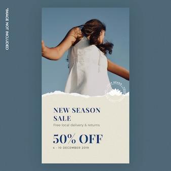 Modello di storia instagram carta strappata nuova stagione