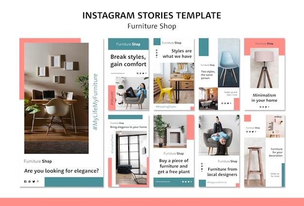 Modello di storie del instagram di concetto del negozio di mobili