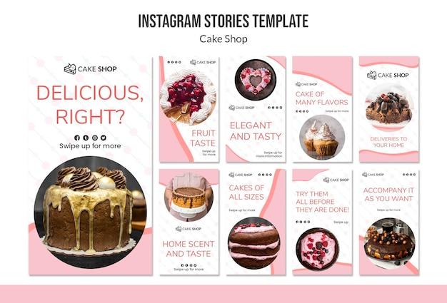 Modello di storie del instagram di concetto del negozio di torta