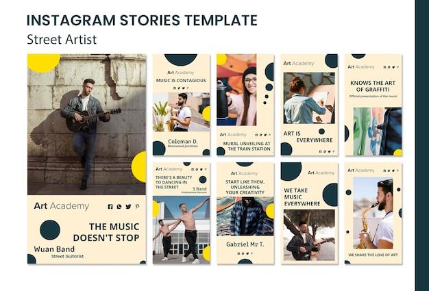 Modello di storie del instagram di concetto dell'artista della via