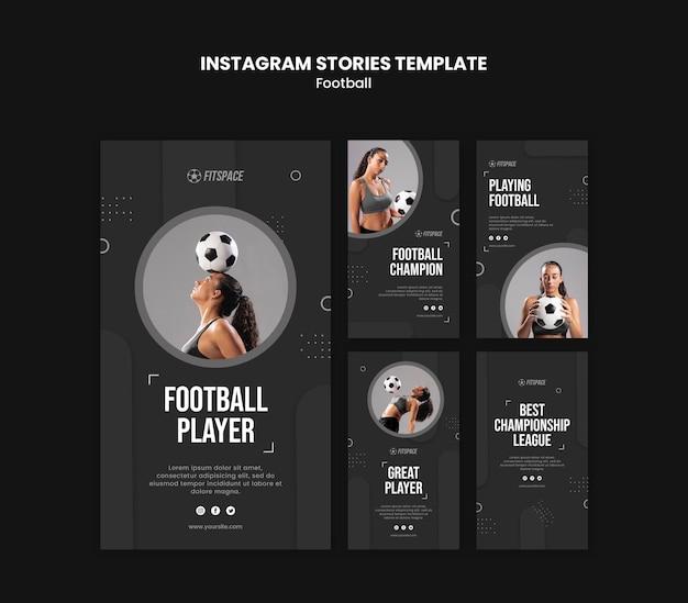 Modello di storie di instagram annuncio di calcio