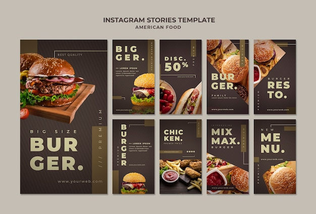 Modello di storie di instagram burger