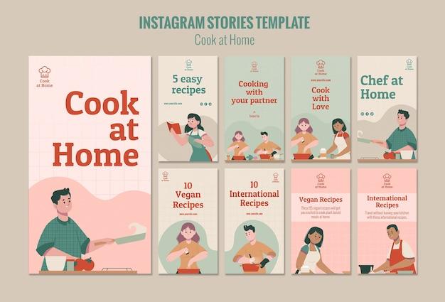 Modello di storie di instagram chef a casa