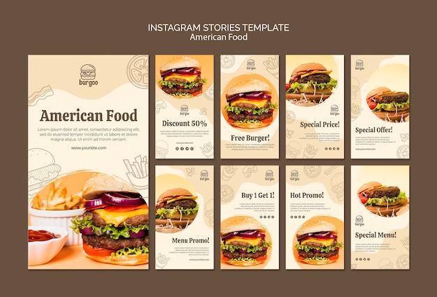 Modello di storie di instagram cibo americano
