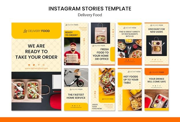 Modello di storie di instagram cibo consegna