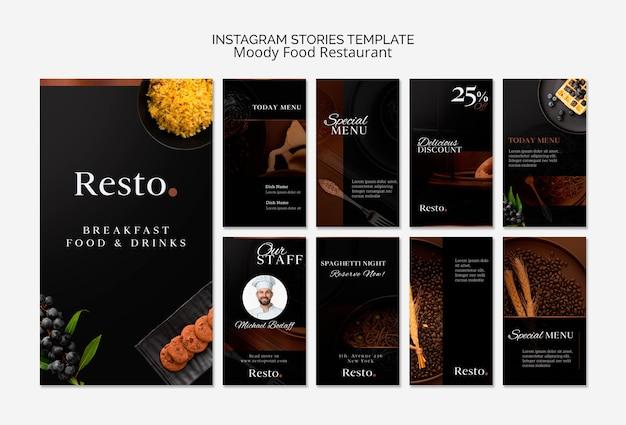 Modello di storie di instagram cibo lunatico