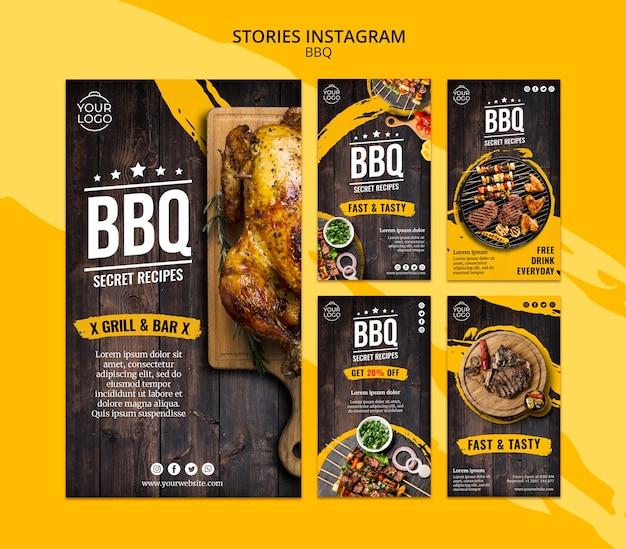 Modello di storie di instagram con bbq