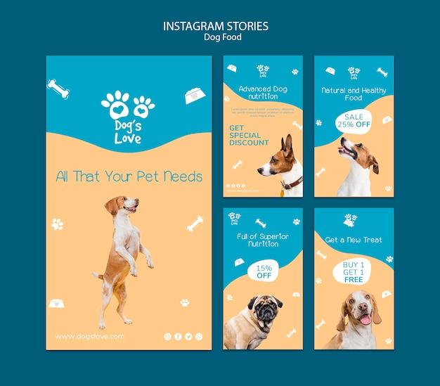 Modello di storie di instagram con cibo per cani