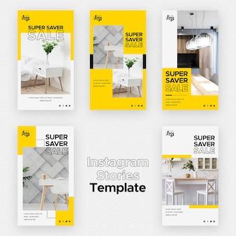Modello di storie di instagram con decorazioni per la casa