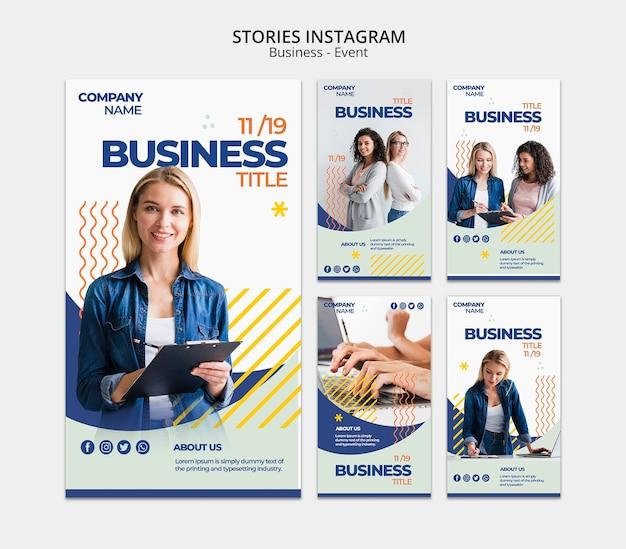 Modello di storie di instagram con il concetto della donna di affari
