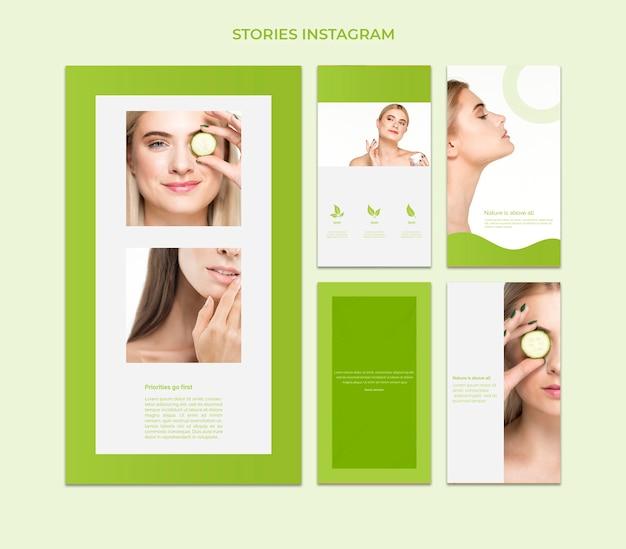 Modello di storie di instagram con il concetto di bellezza