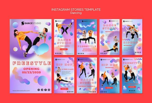 Modello di storie di instagram con il concetto di danza