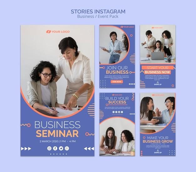 Modello di storie di instagram con il concetto di evento aziendale