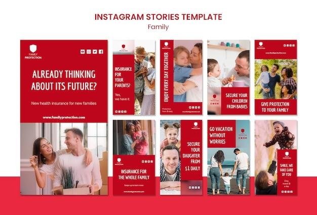 Modello di storie di instagram con la famiglia