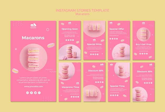 Modello di storie di instagram con macarons