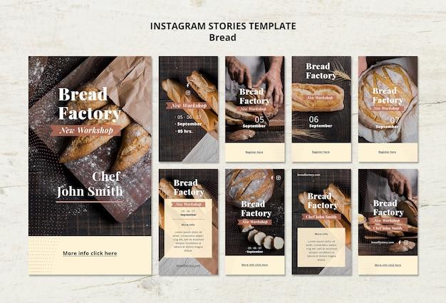 Modello di storie di instagram con pane