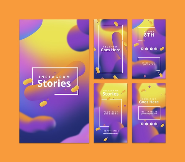 Modello di storie di instagram con sfondo fluido