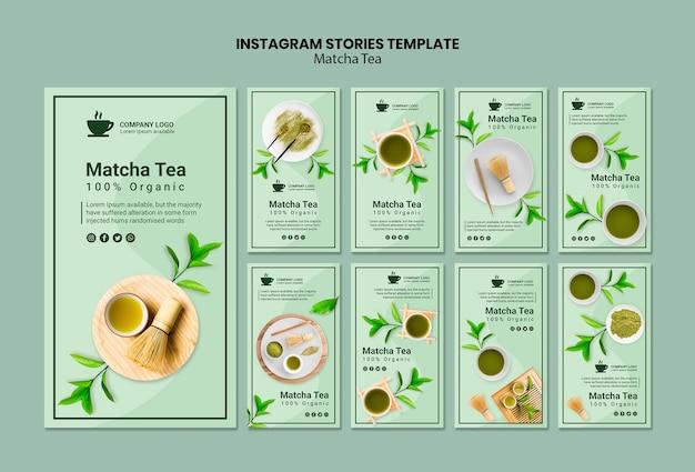 Modello di storie di instagram con tè matcha