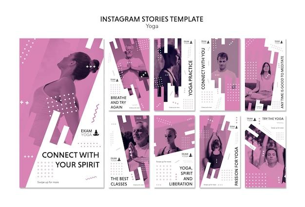 Modello di storie di instagram con yoga