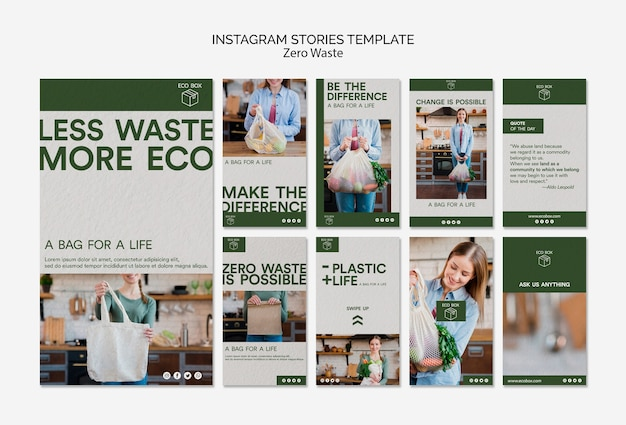 Modello di storie di instagram con zero sprechi