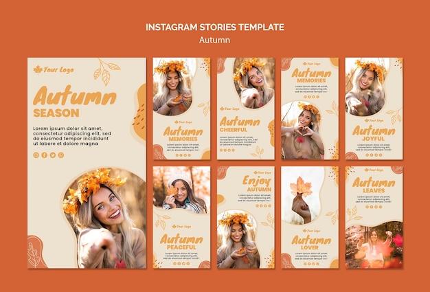 Modello di storie di instagram concetto autunno