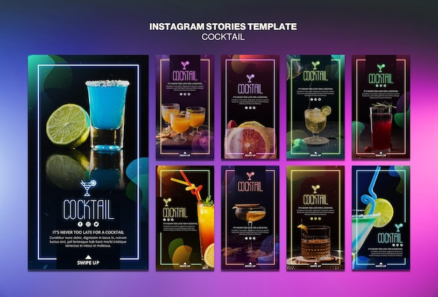 Modello di storie di instagram concetto cocktail