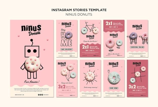 Modello di storie di instagram concetto di ciambelle