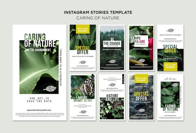 Modello di storie di instagram concetto di natura