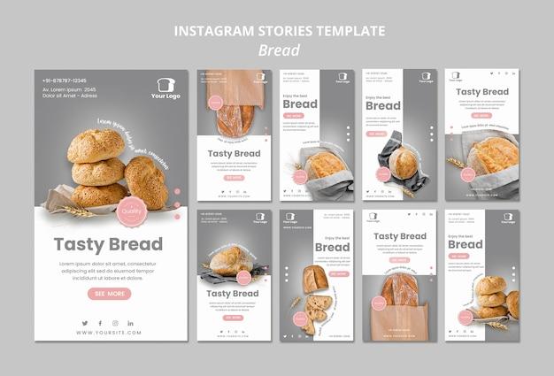 Modello di storie di instagram concetto di pane