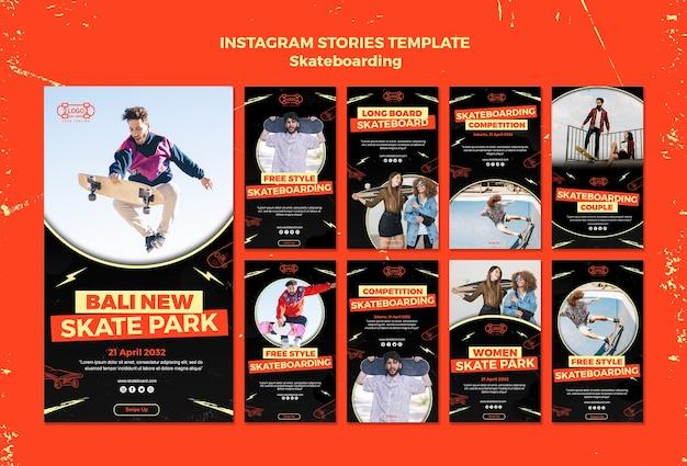 Modello di storie di instagram concetto di skateboard