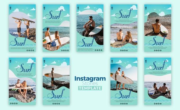 Modello di storie di instagram concetto di surf