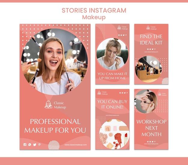Modello di storie di instagram concetto di trucco