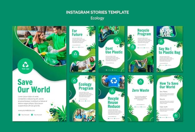 Modello di storie di instagram concetto ecologia
