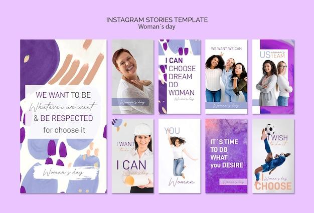 Modello di storie di instagram del giorno delle donne