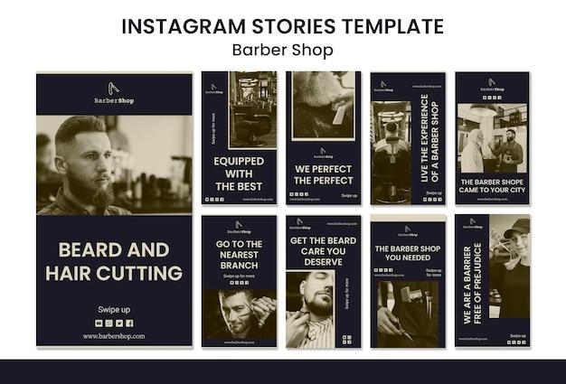 Modello di storie di instagram del negozio di barbiere